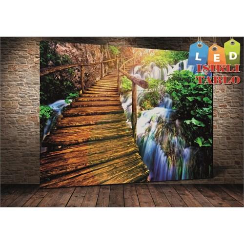 Tablo İstanbul Köprü Şelale Led Işıklı Kanvas Tablo 45 X 65 Cm
