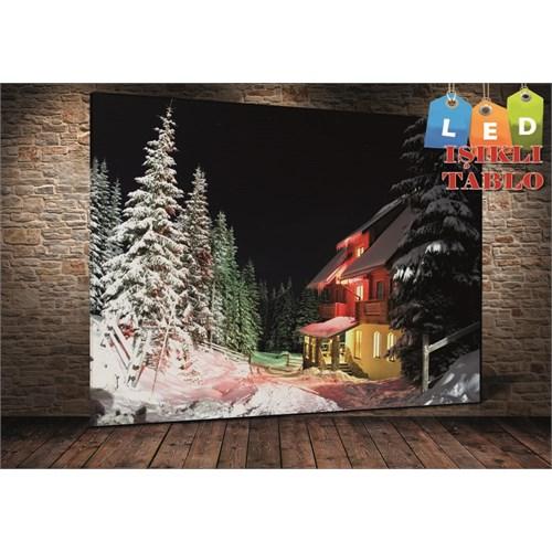 Tablo İstanbul Karlar İçerisinde Ev Led Işıklı Kanvas Tablo 45 X 65 Cm
