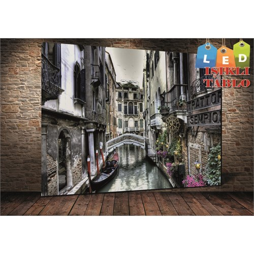 Tablo İstanbul Venedik Manzara Led Işıklı Kanvas Tablo 45 X 65 Cm