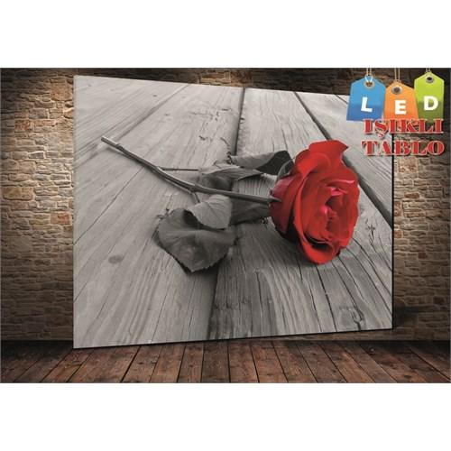Tablo İstanbul Kırmızı Gül Led Işıklı Kanvas Tablo 45 X 65 Cm