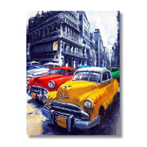 Ritmo-Nostaljının Renklerıyle Arabalar Kanvas Tablo