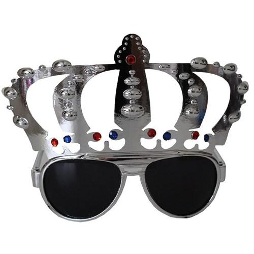 Pandoli Gümüş Renk Kral Tacı Şekilli Parti Gözlüğü