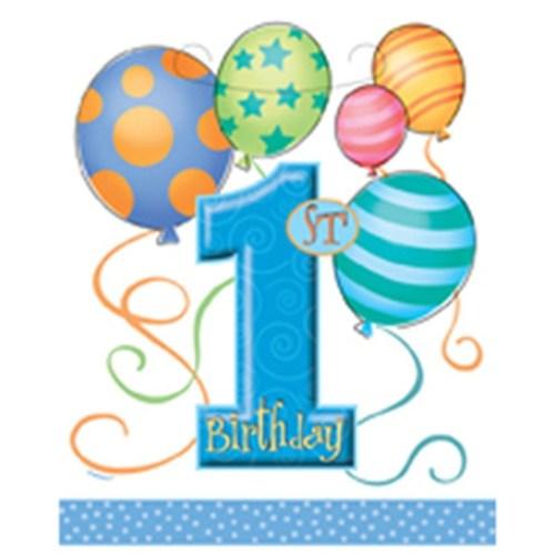 Pandoli First Birthday Balloons Blue Parti Çantası 8 Adet