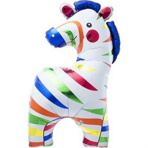 Pandoli Supershape Folyo Renkli Zebra Balon