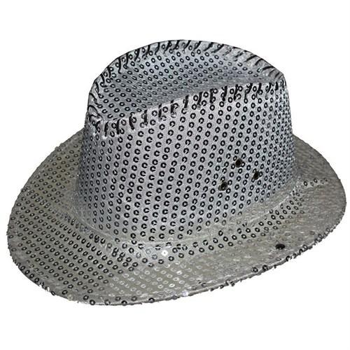 Pandoli Gümüş Renk Pullu Kovboy Şapkası