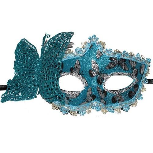Pandoli Mavi Renk İşlemeli Kelebek Balo Maskesi