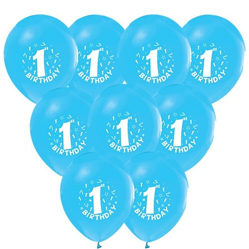 Pandoli 100 Adet Happy Birthday 1 Yaş Mavi Balon