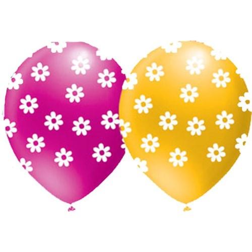 Pandoli 10 Lu Çepeçevre Papatya Pastel Baskılı Renkli Balon