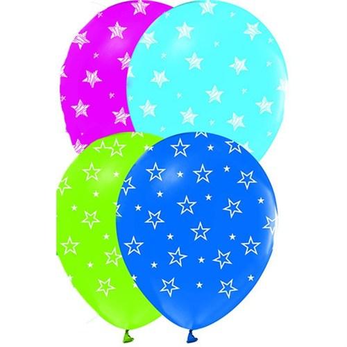 Pandoli 25 Adet Çepeçevre Yıldız Baskılı Latex Balon