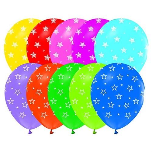 Pandoli 100 Adet Çepeçevre Yıldız Baskılı Latex Balon