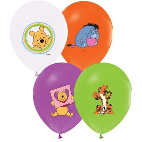Pandoli 25 Li Winnie Baskılı Renkli Balon Latex