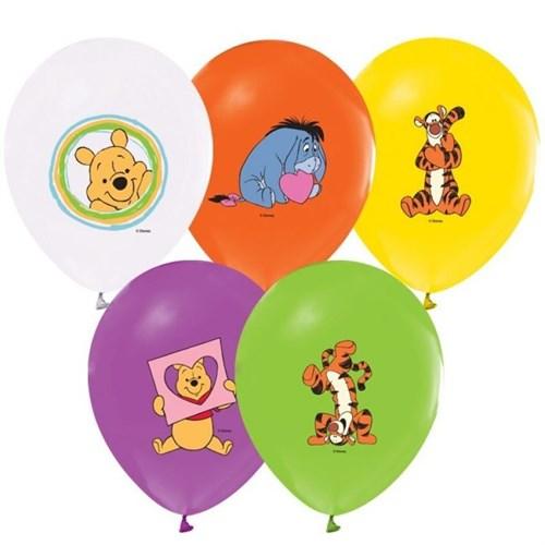 Pandoli 100 Lü Winnie Baskılı Renkli Balon Latex