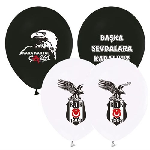 Pandoli 25 Adet Beşiktaş Baskılı Renk Latex Balon
