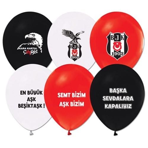 Pandoli 100 Adet Beşiktaş Baskılı Renk Latex Balon