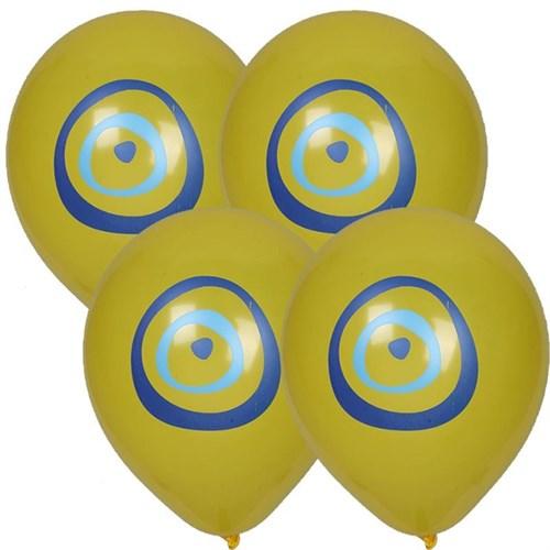 Pandoli 25 Adet Nazar Boncuğu Baskılı Sarı Renk Balon