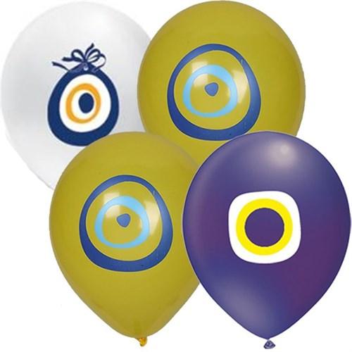Pandoli 25 Adet Karışık Renk Nazar Boncuğu Latex Balon