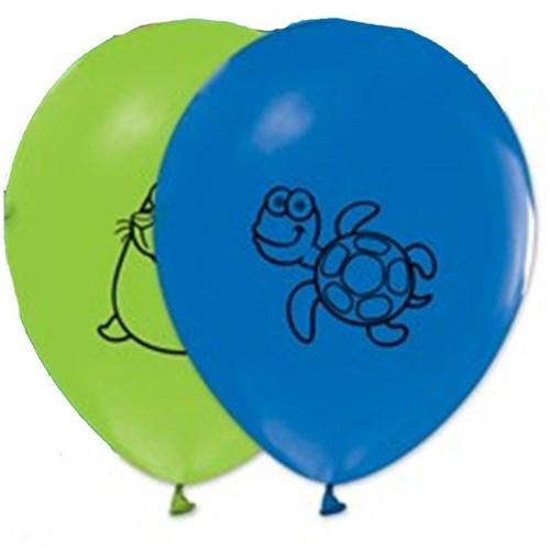 Pandoli 10 Lu Deniz Hayvanları Baskılı Latex Renkli Balon