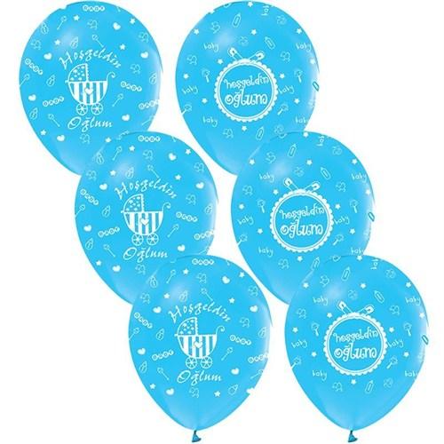 Pandoli 100 Adet Mavi Hoşgeldin Oğlum Baskılı Latex Balon