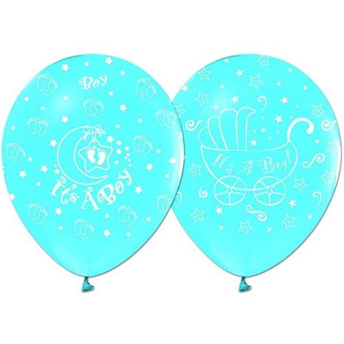 Pandoli 10 Adet Mavi It İs A Boy Baskılı Latex Balon