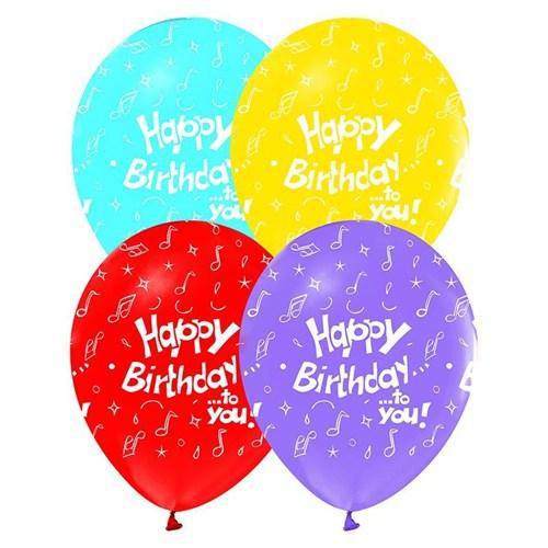 Pandoli 25 Li Happy Birthday Baskılı Renkli Latex Balon