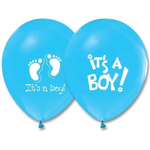 Pandoli 10 Adet Mavi It İs A Boy Baskılı Balon Latex