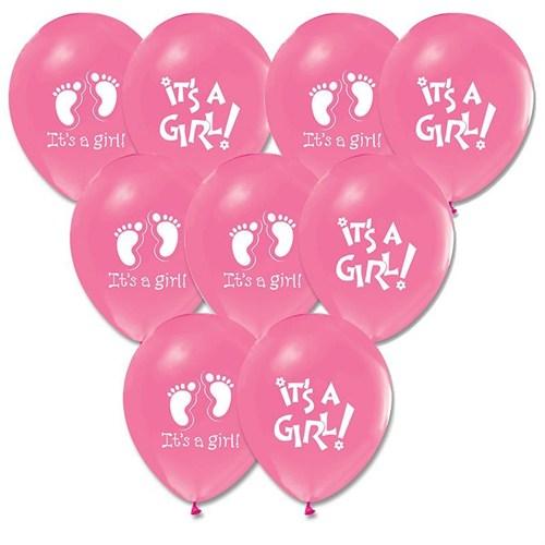 Pandoli 100 Adet Pembe It İs A Girl Baskılı Balon Latex