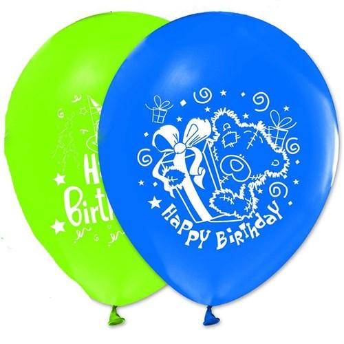 Pandoli 10 Adet Happy Birthday Baskılı Renkli Latex Balon