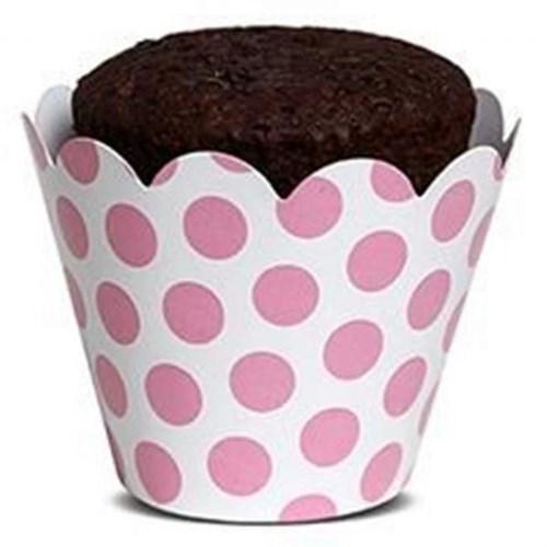 Pandoli Beyaz Pembe Puantiyeli 10 Lu Muffin Kek Tacı
