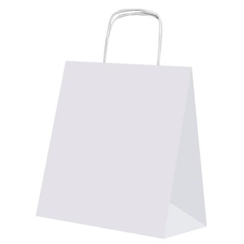 Pandoli 25 Adet Beyaz Renk Kraft Kağıt Hediye Dağıtma Poşeti 22 Cm