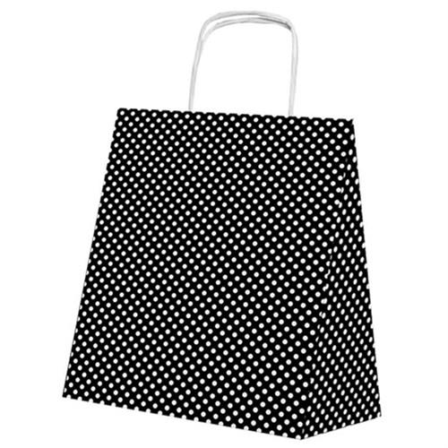 Pandoli Siyah Beyaz Puantiyeli 25 Adet Kraft Hediye Dağıtma Poşeti 24 Cm