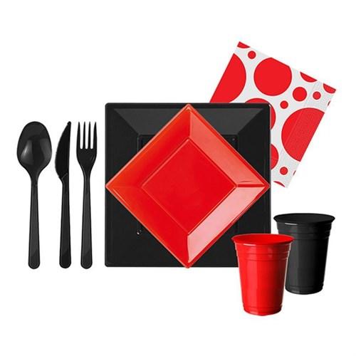 Pandoli 167 Parça Siyah Kırmızı Renk Plastik 16 Kişilik Parti Sofra Seti