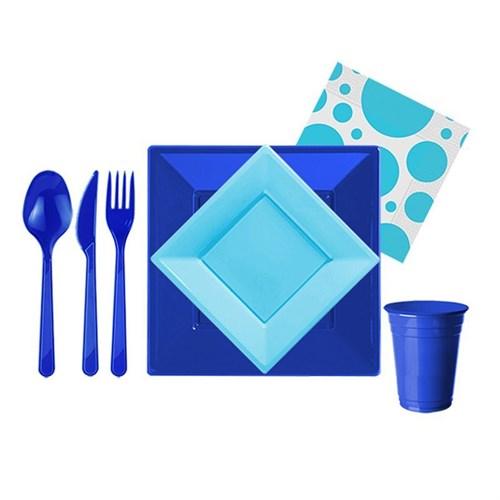 Pandoli 127 Parça Mavi Lacivert Renk Plastik 16 Kişilik Parti Sofra Seti