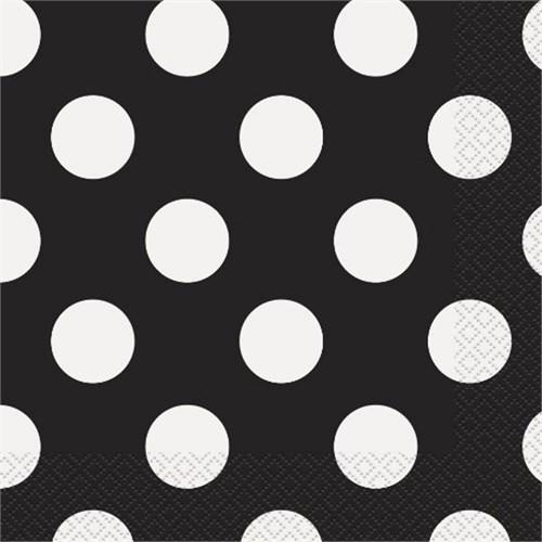 Pandoli Kağıt Parti Peçetesi 33 Cm Siyah Beyaz Puantiyeli 20 Adet