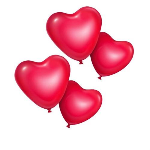 Pandoli 25 Li Kırmızı Kalp Şekilli Balon