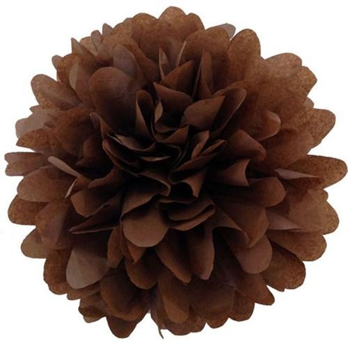 Pandoli 1 Adet Kahverengi Pelur Kağıt Ponpon Çiçek 25 Cm Asma Süs