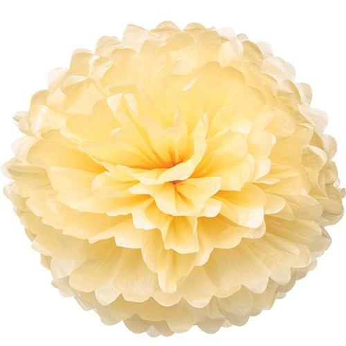 Pandoli Krem Renk Pelur Kağıt Ponpon Çiçek 25 Cm Asma Süs