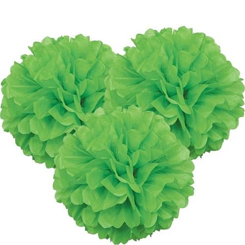 Pandoli 3 Lü Yeşil Renk Pelur Kağıt Ponpon Çiçek Asma Süs 25 Cm