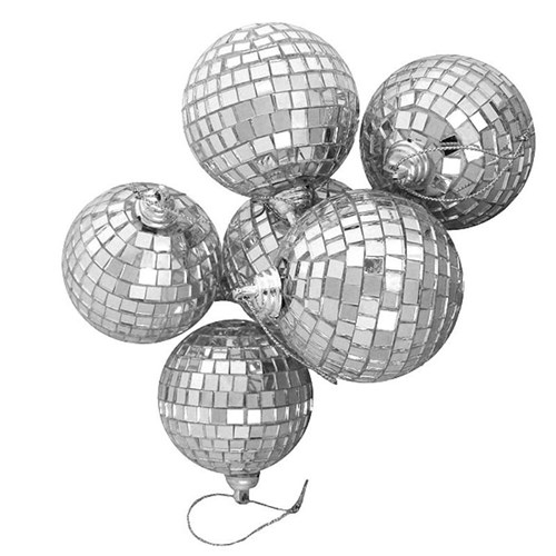Pandoli 4 Cm Aynalı Yılbaşı Ağacı Süsü Disko Topu 6 Adet Gümüş Renk