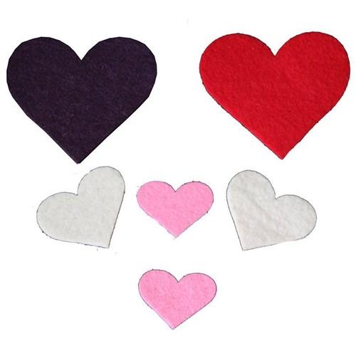 Pandoli Renkli Keçe Kalp Süsler