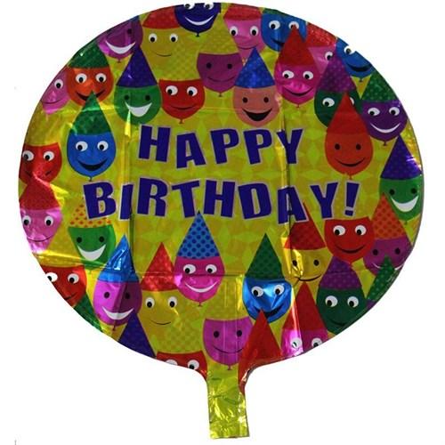 Pandoli Gülen Yüz Temalı Sarı Renk Happy Birdhday Folyo Balon