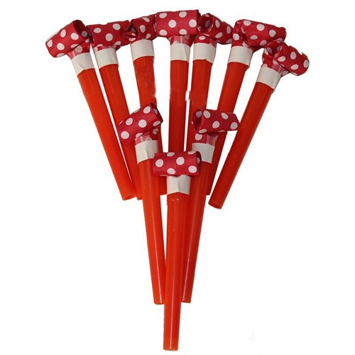 Pandoli Parti Düdüğü 10 Adet Kırmızı Beyaz Puanlı