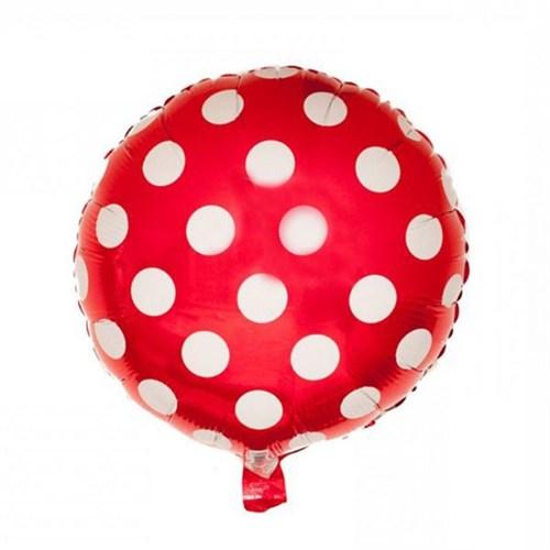 Pandoli Beyaz Puantiyeli Kırmızı Renk Folyo Balon
