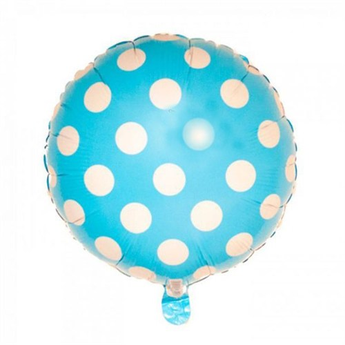 Pandoli Beyaz Puantiyeli Bebek Mavisi Renk Folyo Balon