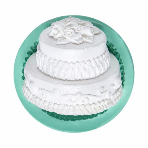 Kurdelya İki Katlı Pasta Silikon Kalıbı