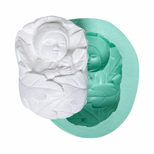 Kurdelya Yaprakta Sarılı Bebek Silikon Kalıbı