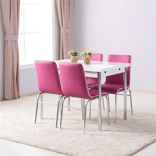 Kavi Home 70X110 Yandan Açılır Nikelaj Masa + 4 Adet Duru Fitilli Nikelaj Sandalye