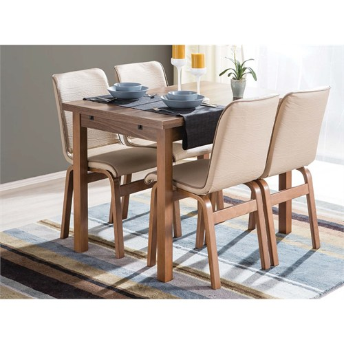 Kavi Home 70X110 Yandan Açılır Ahşap Masa + 4 Adet Ahşap Duru Fitilli Sandalye