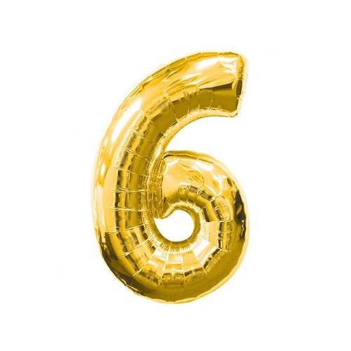 KullanAtMarket 6 Rakam Altın Folyo Balon