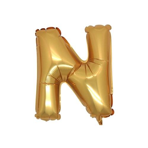 KullanAtMarket N Harf Altın Folyo Balon