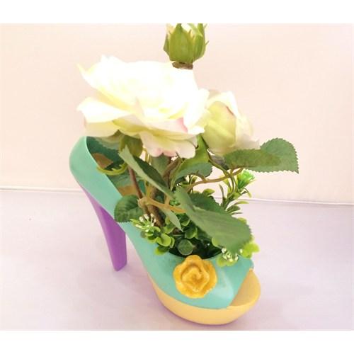 Buffer Topuklu Ayakkabı Tasarımlı Saksı Beyaz Gül